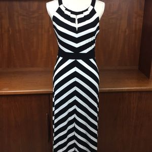 Stunning WHBM black and white halter maxi dress